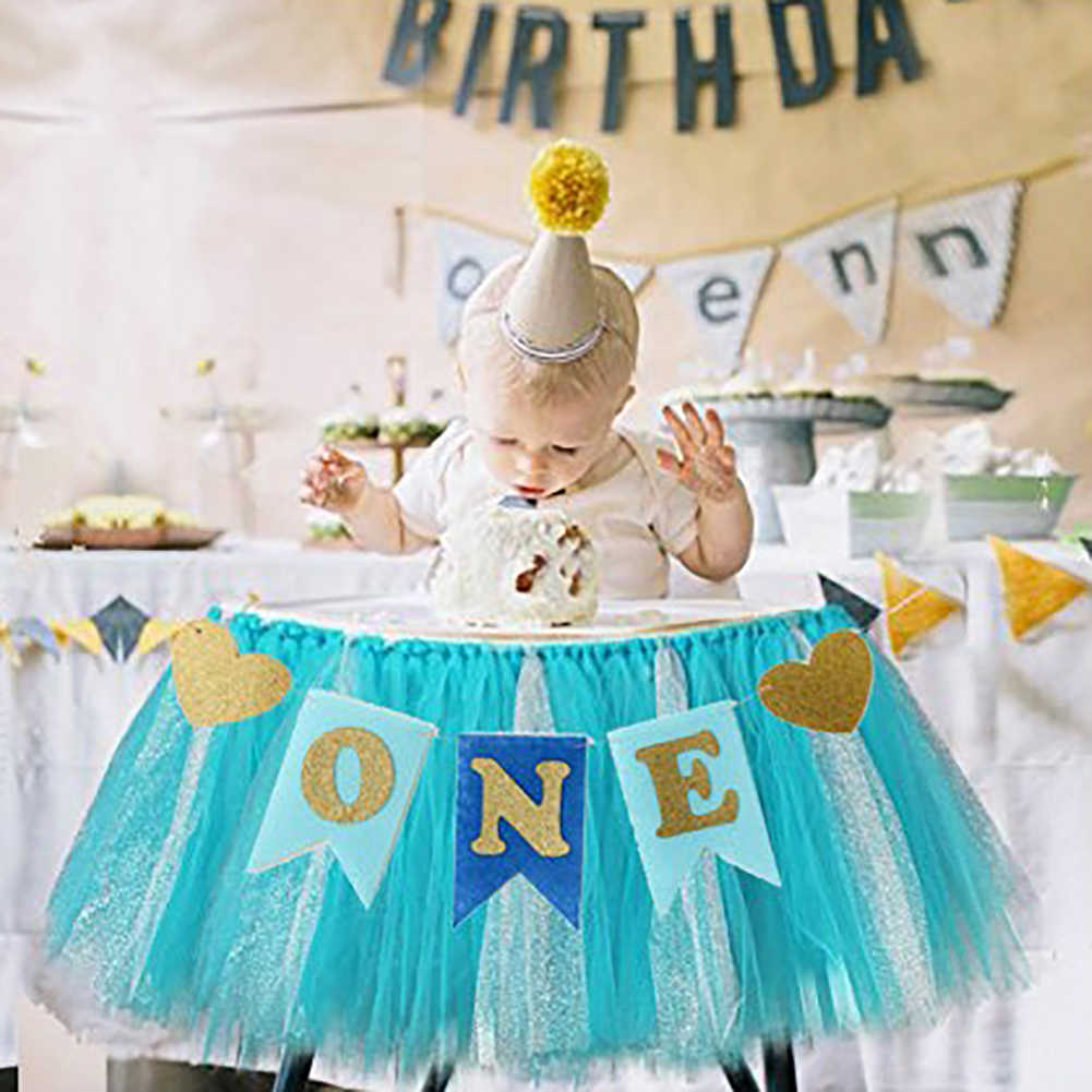 Baby Shower แบนเนอร์ Glitter ONE รูปหัวใจเด็กแบนเนอร์ Highchair Bunting Party ของขวัญ