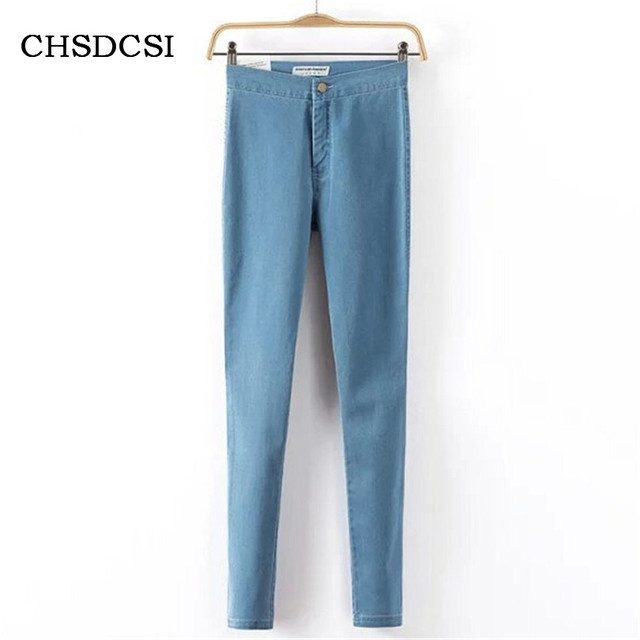 Women Straight Large Size Jeans High Waist Spring 2017 Blue High Elastic Long Skinny Slim Jeans Trousers For Woman Trousers K093