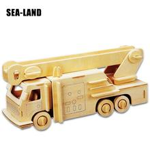 Kids Toys Wooden 3D Puzzle For Children Fire Truck A Montessori Educationaly Diy Toy Challenge Wisdom Gift Or Adult