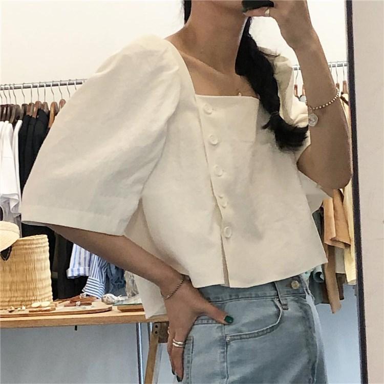 SuperAen Korean Style Square Collar Short   Shirt   Women Summer New 2019 Cotton   Blouses   and Tops Female Short Sleeve Women Clothes