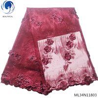 Beautifical 3d lace fabrics beaded Embroidered fabrics dress high quality tulle lace fabrics for women 5yards/lot ML34N118
