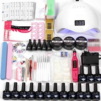 Manicure Set Acrylic Nail Extension Kit 12pcs Gel Polish Base Top Coat&36w/48w Led Uv Lamp Electric Manicure Handle Nail set