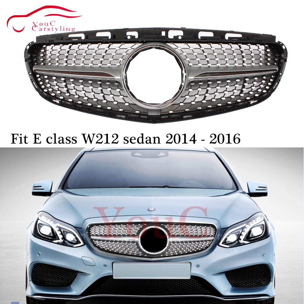 W212 Diamond grille Front Bumper Grill Mesh for Mercedes E class W212 with AMG package 2013 - 2016 E200 E250 E300 E350 E400 image
