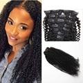 Hot sale Virgin Brazilian Hair Afro Kinky Curly 120g 10-26 inches Clip In Hair Soft Virgin Human Hair Kinky Curl Extension
