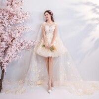 2018 new plus size women pregnant bridal wedding party dress mini lace Embroidery A line sexy romantic short Bridesmaid dress