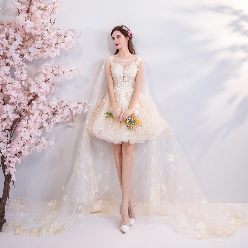 2018 new plus size women pregnant bridal wedding party   dress   mini lace Embroidery A-line sexy romantic short   Bridesmaid     dress