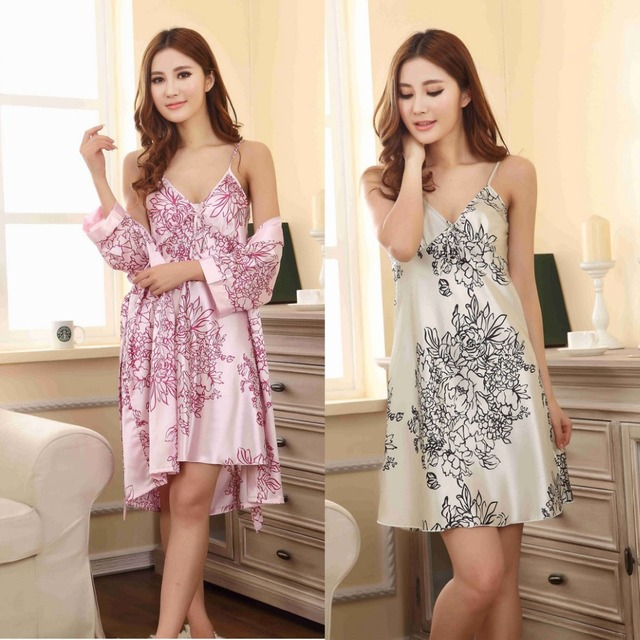 2016 Summer Women's Sexy Silk Two-piece Pajamas Printed Loose Big Size Lace Pajamas Home Service Nightdress Gownsets