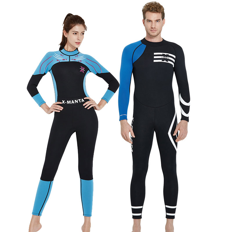 3mm Neoprene Wetsuits Full Body Suit Back Zipper Diving Snorkeling Surfing Scuba Wet Suit Black/Blue Long Sleeve Mens Womens women s wetsuit 3mm premium neoprene diving suit full length snorkeling wetsuits full body