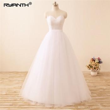 Ryanth  Boho Beach Wedding Dress 2019 In Stock Vestido de noiva Cheap Sweetheart Bohemian Lace Wedding Gowns Bridal Dresses