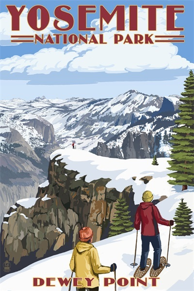 Ski in America Yosemite National Park Retro Vintage Kraft Travel Poster Decorative DIY Wall Sticker Home Bar Posters Decoration