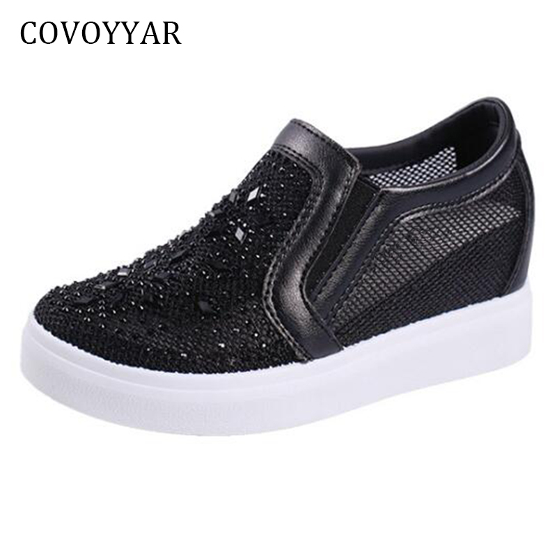 COVOYYAR Mesh Casual Shoes 2018 Summer Rhinestone Hidden Wedges Women Shoes Loafers Breathable Slip O Women Sneakers WSN624