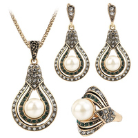 PULATU Fashion Women S Jewelry Sets Creative Vintage Waterdrop Mosaic Pearl Necklace Earrings Ring Set Engagement