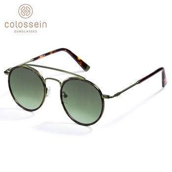 COLOSSEIN Güneş Gözlüğü Kadın Erkek Retro Moda yuvarlak gözlük UV400 Çift Burun Köprüsü Metal Asetat Çerçeve Gözlük Kaplumbağa UV400