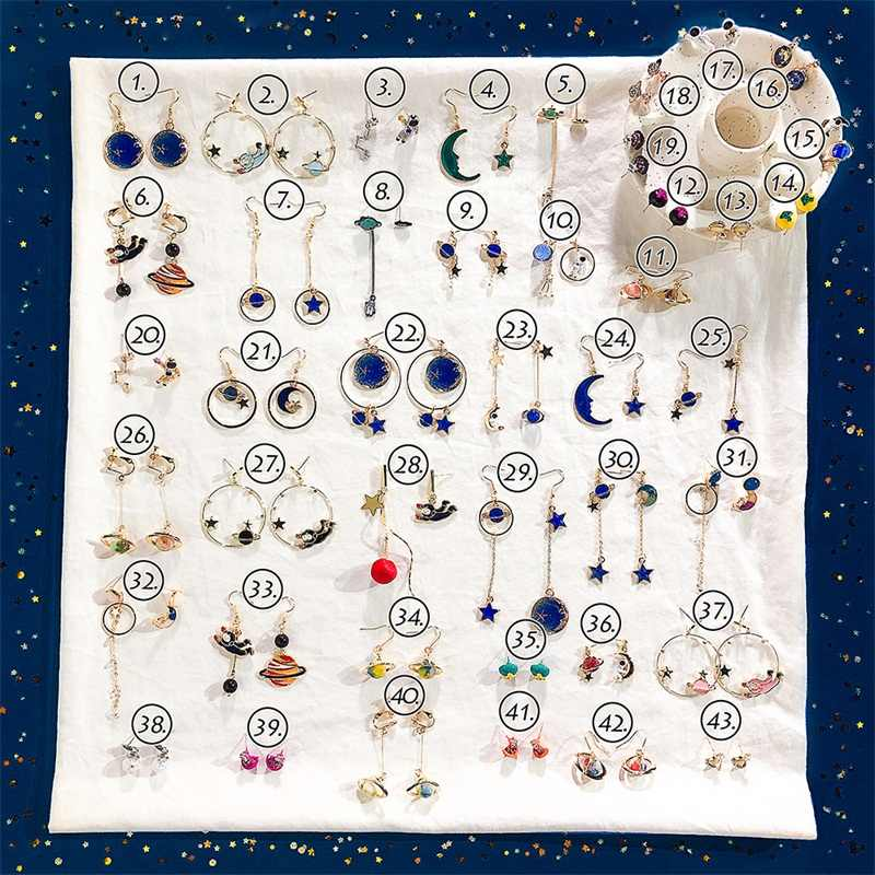 Creative Planet Space Star Moon Astronaut Long Pendant Earrings Simple Wild Korean Fashion Asymmetric Blue Earrings Jewelry Gift
