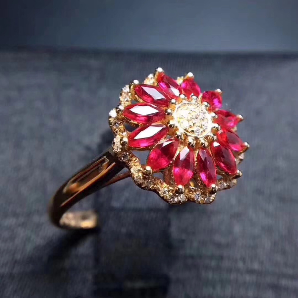 Luxurious big round Sunflower Natural red ruby gem Ring Natural gemstone ring S925 silver women wedding gift fine Jewelry