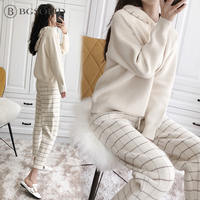 Double sided cashmere women 2018 Korean version fashion knitted two pieces of temperament cashmere Radish pants suit