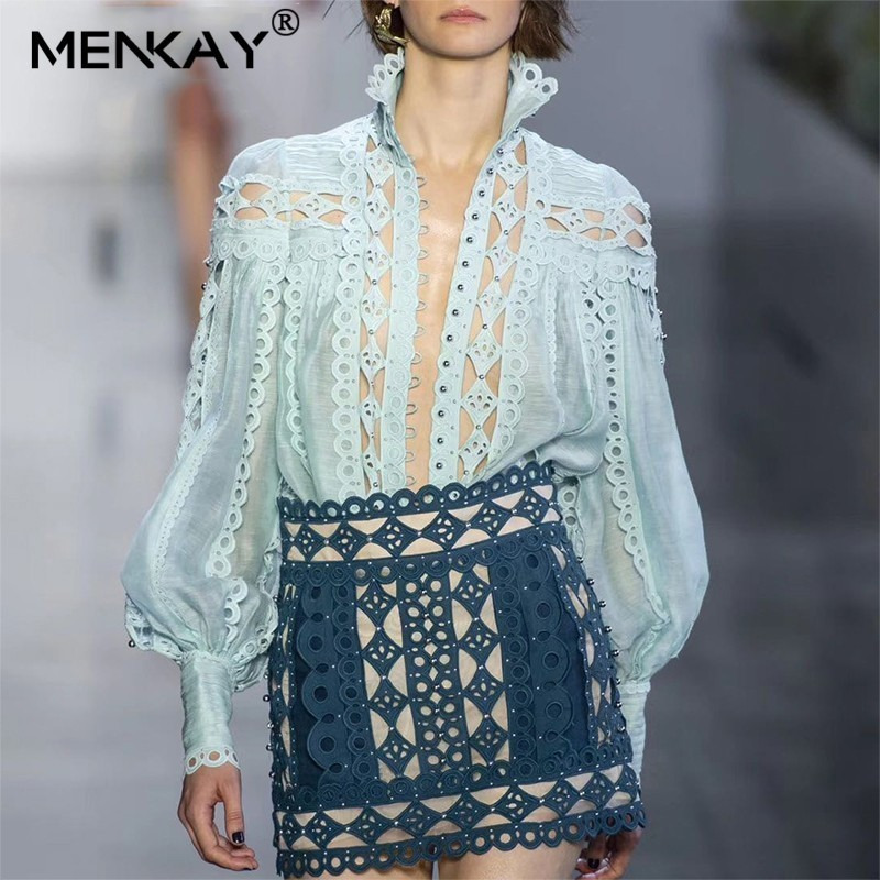 MENKAY Sexy Beading Patchwork Women Blouse Stand Collar Lantern Sleeve Hollow Out Shirt Female Fashion