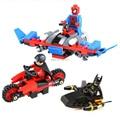 3 шт. робин Бэтмен человек-паук колесницы Кирпич масштабные модели Модель Строительные Наборы Блоков Игрушки playmobil Устанавливает brinquedos