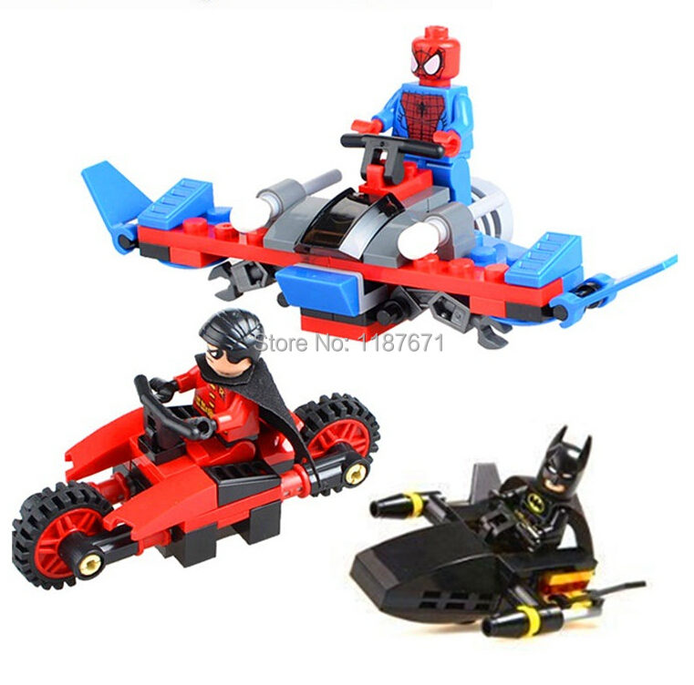 3pcs Batman robin spider man chariots Brick scale models Model Building Kits Blocks Toy playmobil Sets