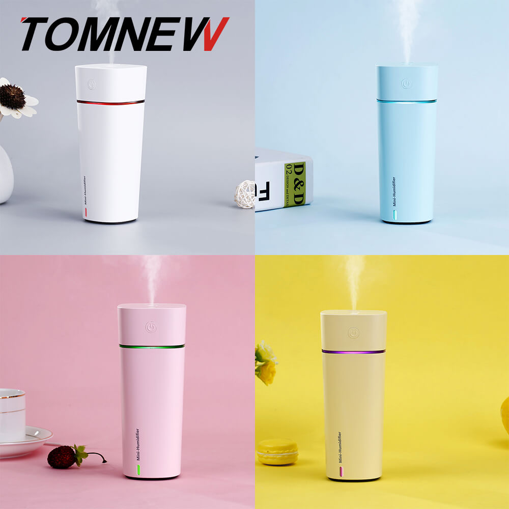 TOMNEW 3 in 1 Mini Cool Mist Humidifier 240ML Ultrasonic Two-Modes Air Diffuser with USB Fan and LED Lamp for Home Office or Car