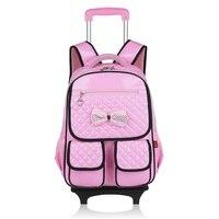Съемная Искусственная кожа Детский рюкзак с wheele детей mochilas Школьные сумки тележки для студентов подростков для мальчиков и девочек Новинка