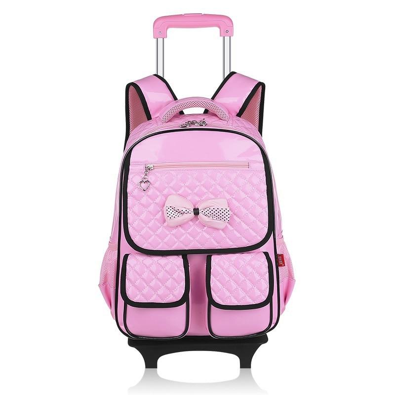 Détachable PU cuir enfants sac à dos avec wheele enfants mochilas trolley sacs d'école pour étudiant adolescent filles garçons 2017 nouveau