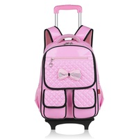 Detachable PU leather kids backpack with wheele children mochilas trolley school bags for student teenager girls boys 2017 new