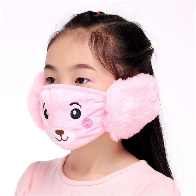 Cute bear Ear protective kids mouth mask Windproof Mouth-muffle anti dust winter masks Children Anti Haze Flu cotton Face masks 2