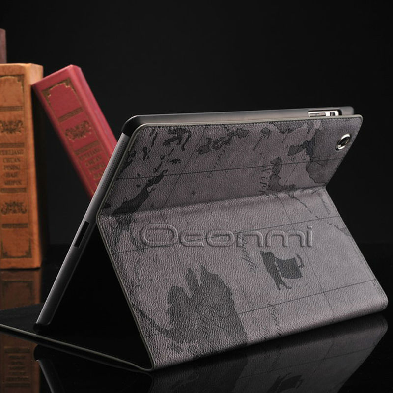 World Map Leather Case For Apple Ipad 2 3 4 With Stand Function Credit Card Slots Wallet Cover For Ipad 4 Bag Case
