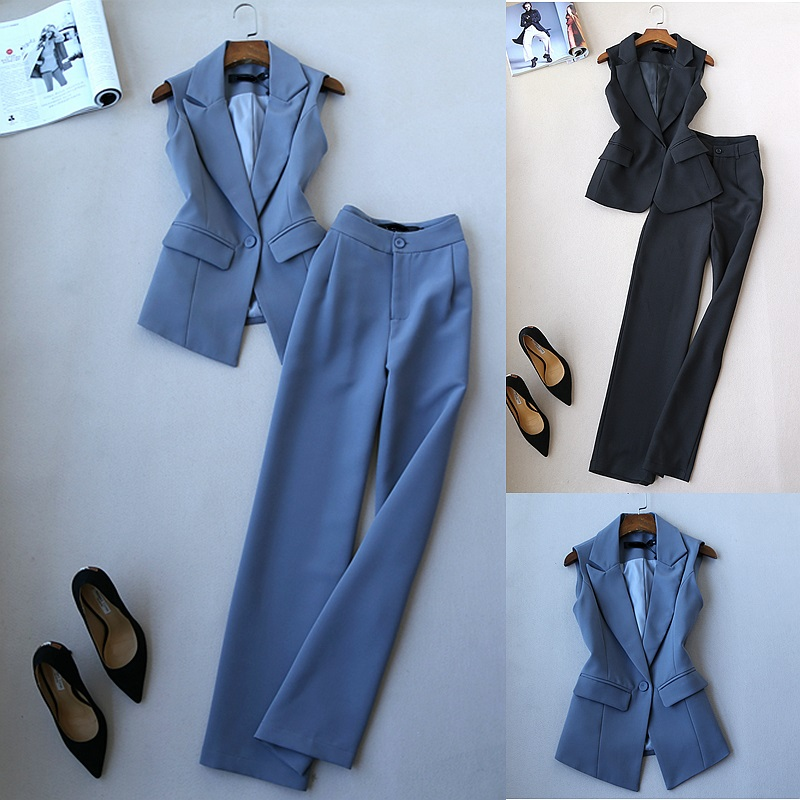FREE Shipping Spring Autumn Fashion Women Korean Style Suit Vest and Wide Leg Pants OL Work