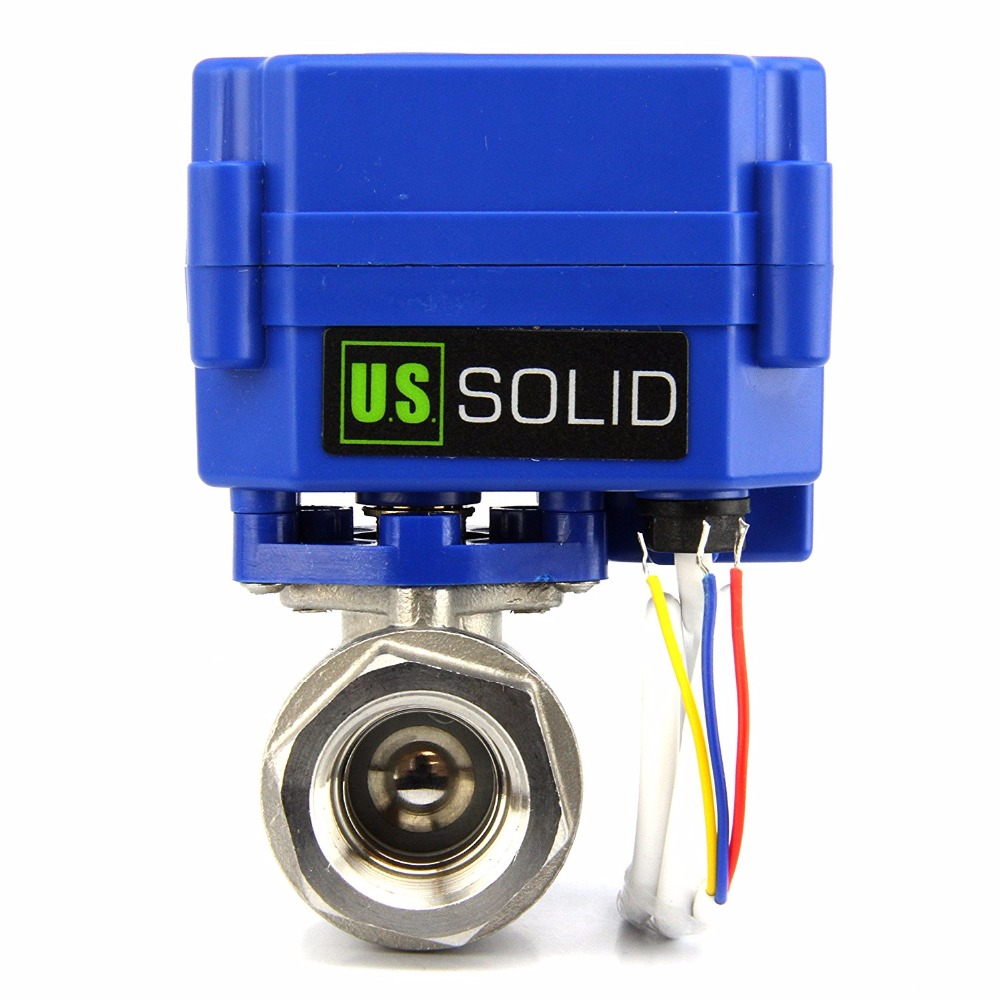 "U.S. Solid 1/2"" Motorized Ball Valve Stainless Steel Electrical Ball Valve 9-24 V DC/AC, 3 wire, NPT Thread"