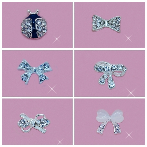 Nail art Studs 3D  bowtie diamond Alloy decorations bags include 100 pieces free shipping support mixed batch