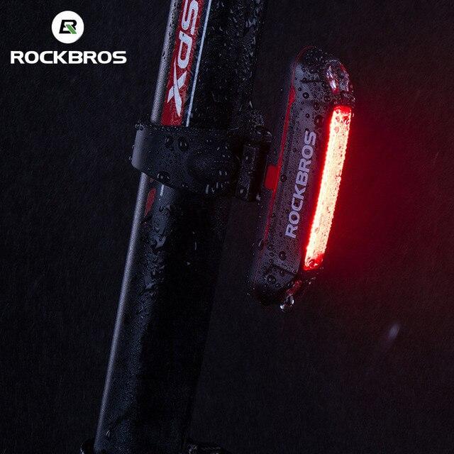 Rockbros luz de capacete para bicicletas 400lm, luz dianteira, luz para guidão ou capacete, ciclismo, recarregável, luz piscante de segurança, luz traseira 6