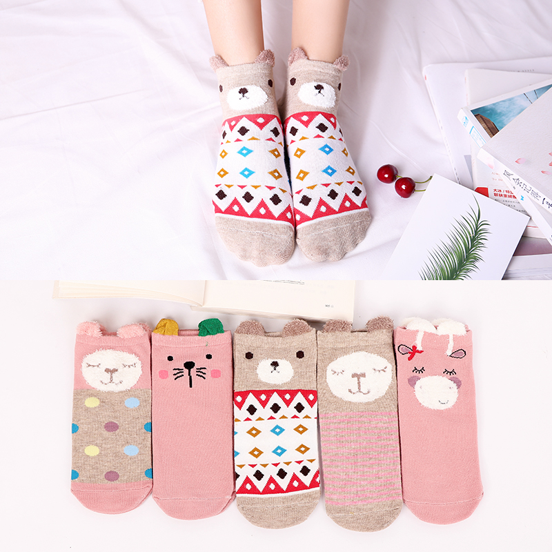 5Pairs Spring New Arrivl Women Cotton Socks Pink Cute Ankle Socks Short Socks Lattice Bear  Casual Animal Ear Gril Socks 35-40