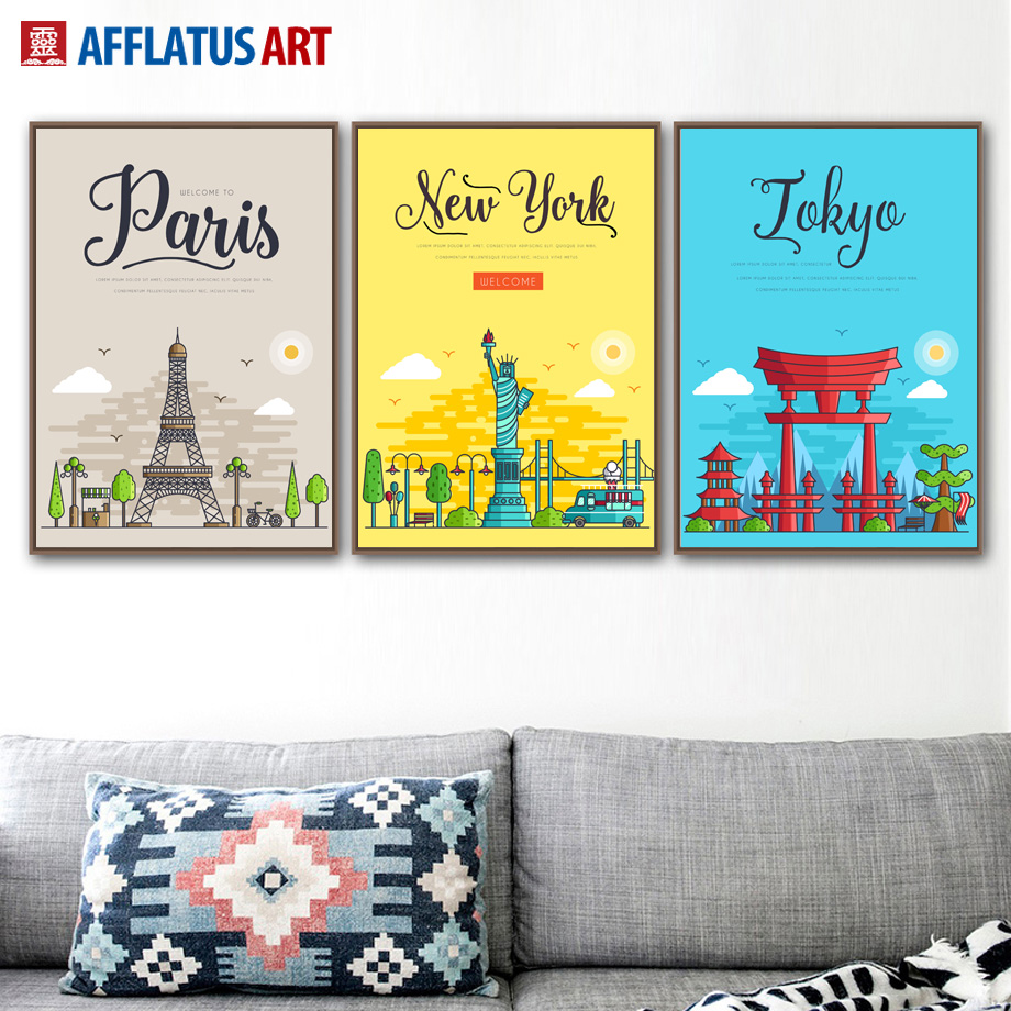 London New York Pairs Wall Art Canvas Painting Nordic Posters And ...
