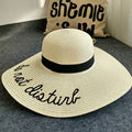 2016 New Summer  Women's Ladies' Foldable Wide Large Brim Floppy Summer Sun Beach Embroidery Hat Straw Hat Cap Drop Shipping