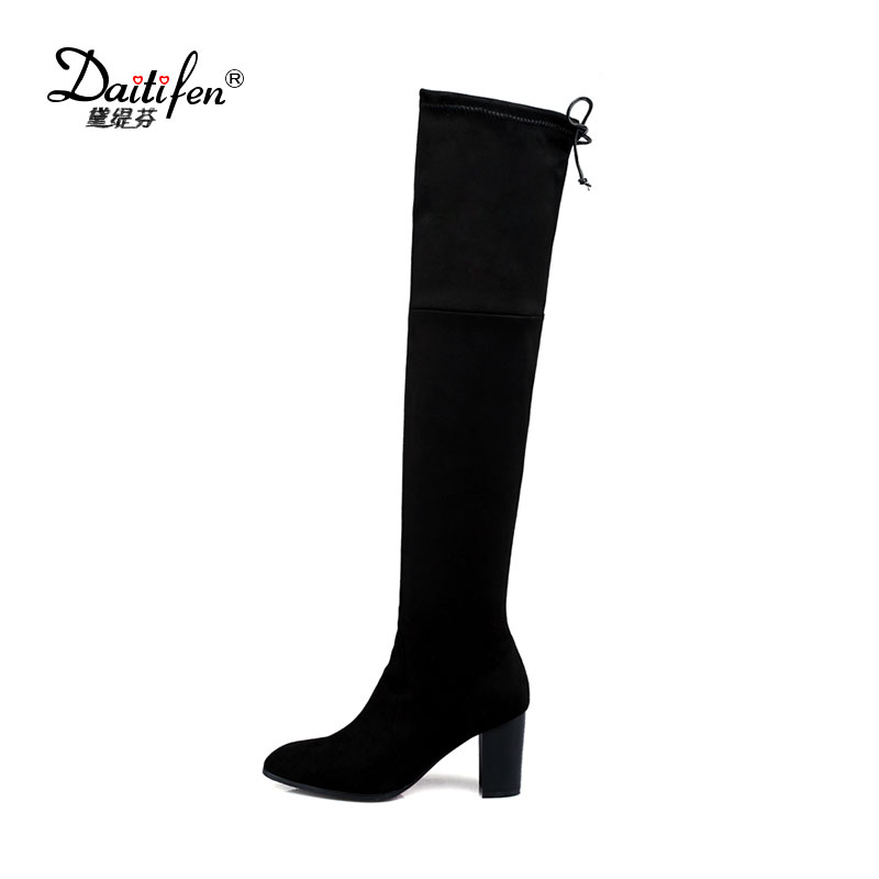 Winter Slim Women Boots Over the Knee High Sexy High Square Thick Heels Round Toe Flock Big Brand Fashion Female Shoes Hot Sale