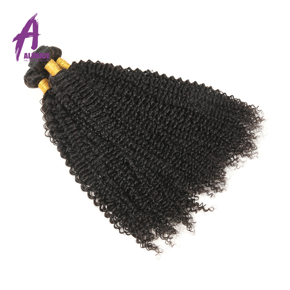 Malaysian Kinky Curly Hair Weave Bundles 4 Pcs/lot 100% Human Hair Weaving Natural Color Non-Remy Hair Bundles Free Shipping