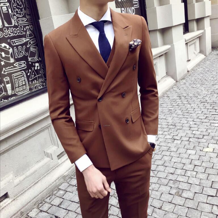 High quality Brown Jacket Pants Vest / Mens Suits Formal Men Suit Set Men Wedding Suits Groom Prom Tuxedos Blazers 3 Pieces Sets
