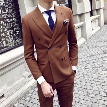 2582f127af4cd Yüksek kaliteli Kahverengi Ceket Pantolon Yelek/Erkek Takım Elbise Resmi Erkek  Takım Elbise Set Erkekler Düğün Takım Elbise Damat Balo Smokin Blazers 3  adet ...