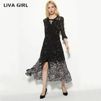 Women Elegant Floral Chiffon Dress See Through Two Pieces Set Long Sleeve Elastic Waist Casual Brand