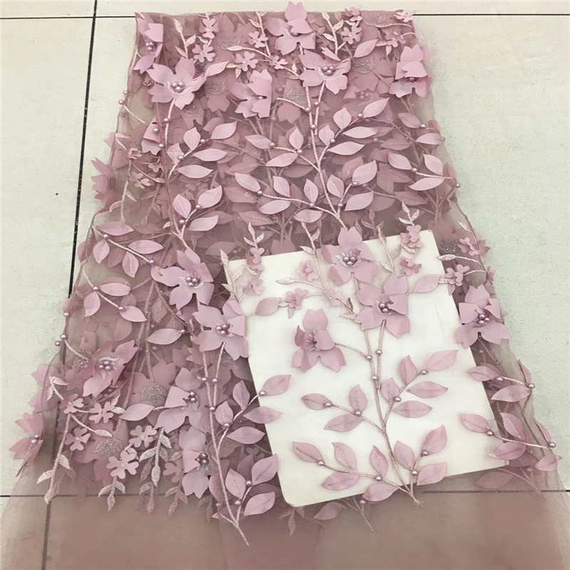 VILLIEA 3D Flowers Latest African Cord Lace Fabrics High Quality 2018 Nigerian Lace Fabric For Wedding