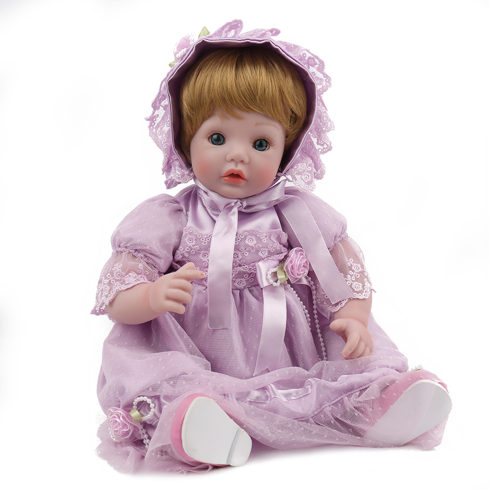 NPKDOLL 18 Inch Reborn Doll Boneca Babe Silicone Realistic Baby Gift for Kids Lifelike Girl Princess Pink Baby Clothes Cute
