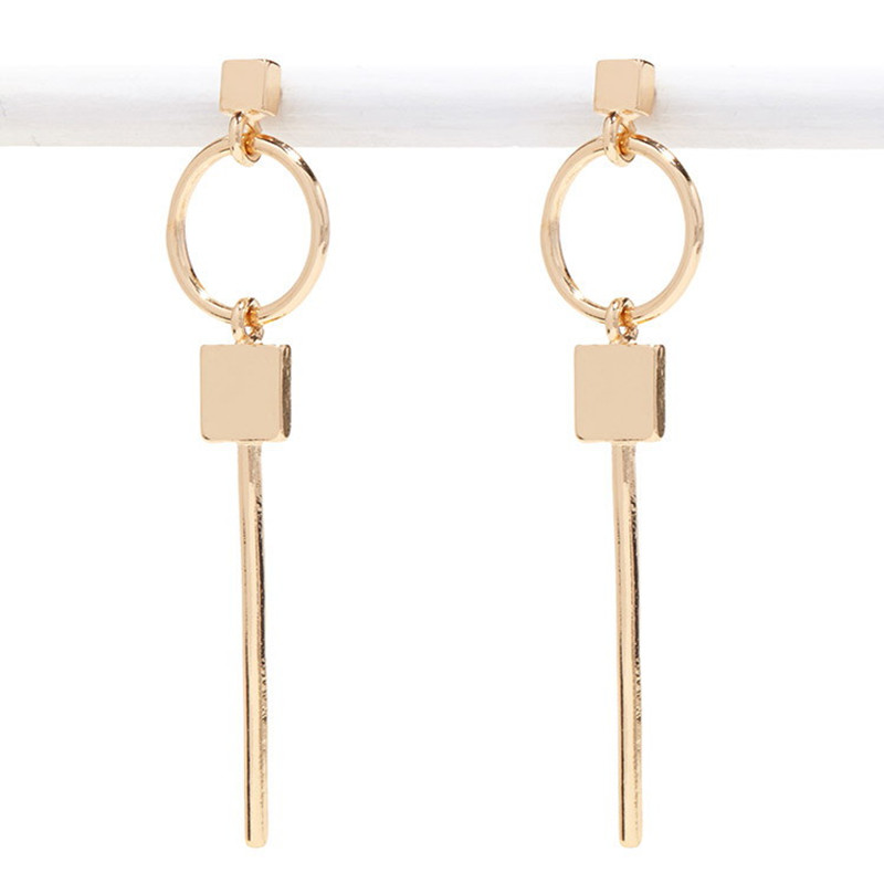 2016 Design Exaggerated Geometry Key Circle Stud Earrings