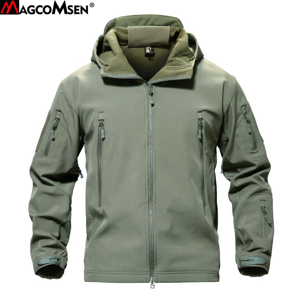 MAGCOMSEN כריש עור צבאי מעיל גברים Softshell Waterpoof בגדי Camo טקטי הסוואה צבא Hoody מעיל זכר חורף מעיל