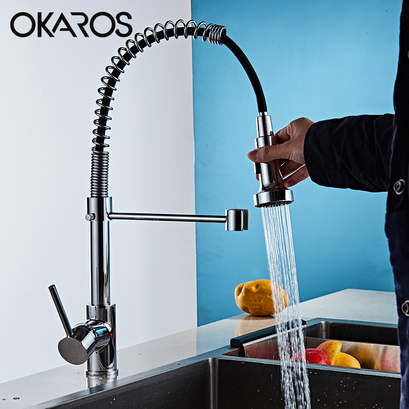 OKARO Chrome Finished Kitchen Faucet  Pull Out Spring Style Swivel Dual Sprayer Outlet Nozzle Water Mixer Tap  cranTorneira chrome finished pull out spring kitchen faucet deck mount swivel spout vessel sink mixer tap dual sprayer