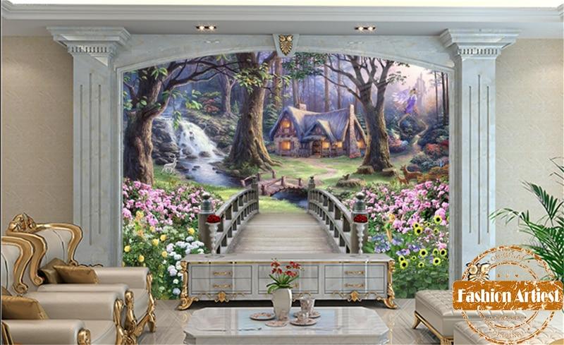 3d Wallpaper For Bedroom Walls Custom Cartoon Children Wallpaper Mural Bridge To Fantasy