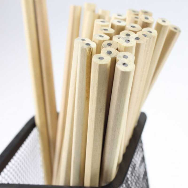 Eco-friendly Natural Wood Pencil HB Blank Hexagonal Non-toxic Standard Pencil Cute Stationery Office School Supplies