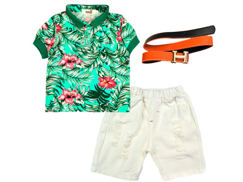 New Summer for Children Clothing Sets Baby Boys T Shirts+shorts+belt 3pcs Pants Sports Kids Clothes Boy Brand Set