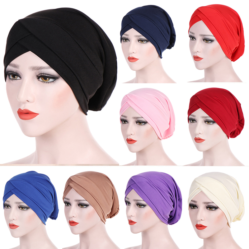 Muslim Cross Scarf Inner Hijab Cap Islamic Head Wear Hat Headband Turban Head Scarf Headwrap Women Muslim Hijab